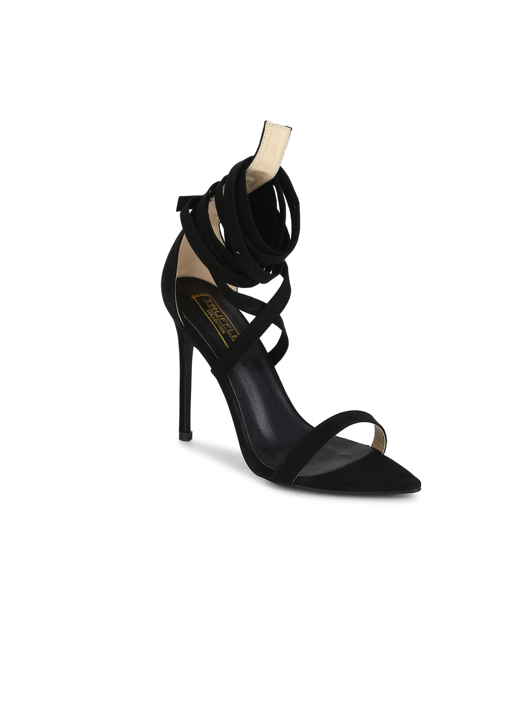 cdd03c9a74e Buy Truffle Collection Women Black Solid Sandals - Heels for Women ...