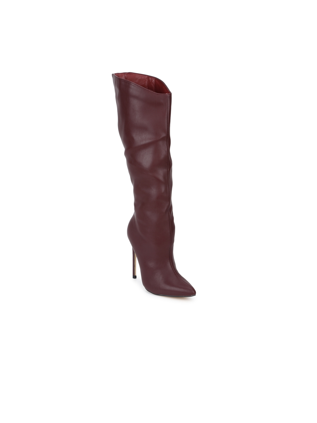 bf53321f703 Buy Truffle Collection Women Maroon Solid Heeled Boots - Heels for ...