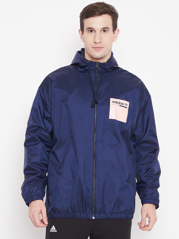 half off cbfdb a250b ADIDAS Originals Men Navy Kaval WB Winter Printed Padded Hooded Jacket