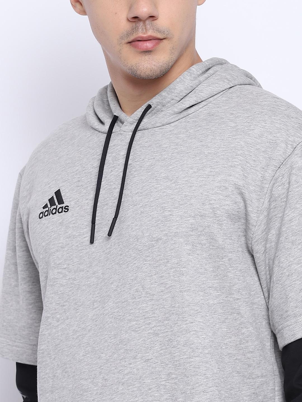 d93db185b Buy Adidas Men Grey Melange Tango Layered JSY LS Hooded Sweatshirt ...