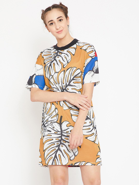 422002c91679 ADIDAS Originals Women Mustard Yellow & Off-White Printed T-shirt Dress