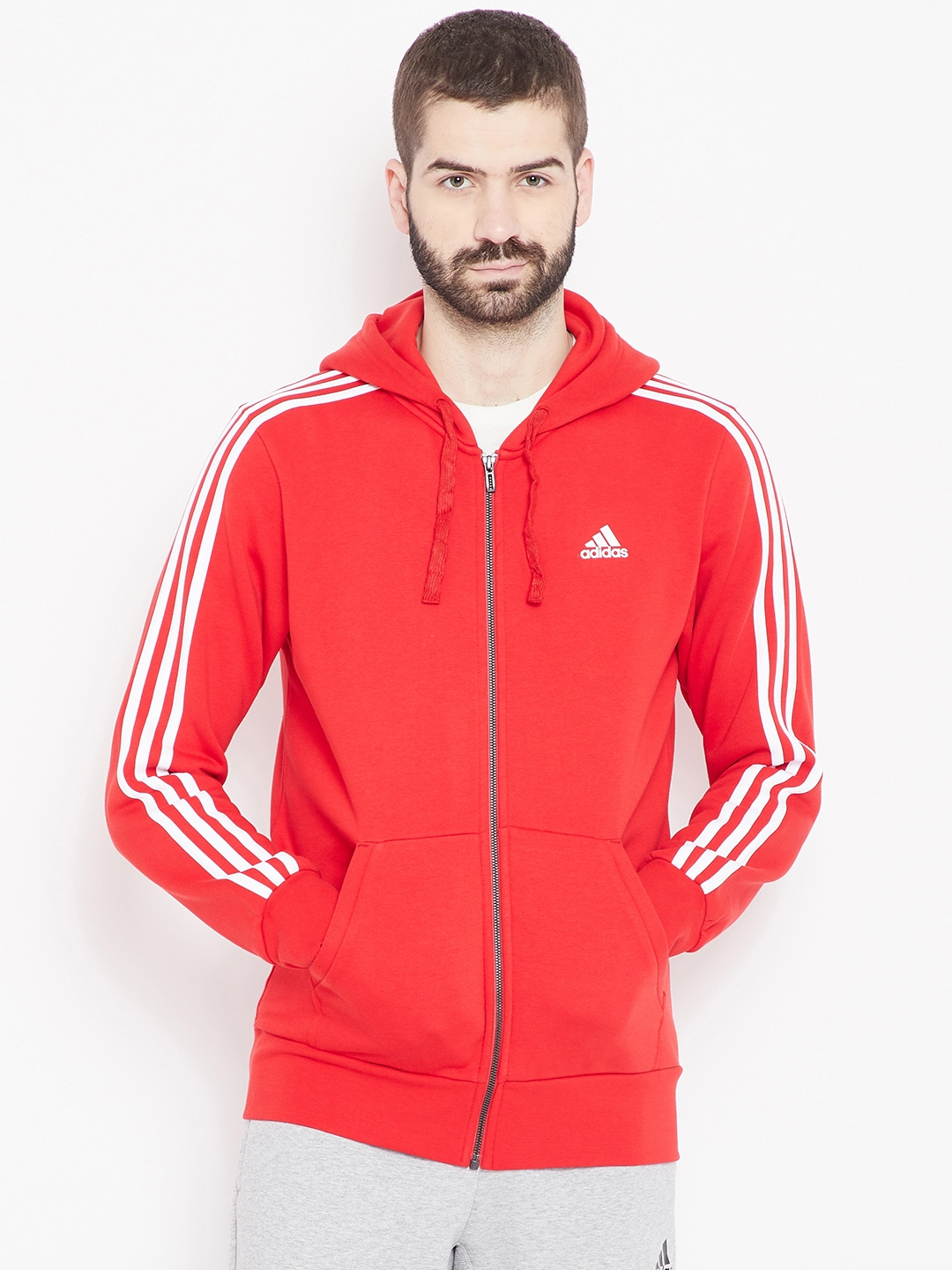 order online designer fashion detailed images ADIDAS Men Red ESS 3S FZ B Hooded Sweatshirt