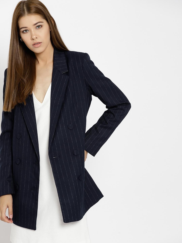 variedad de diseños y colores nuevo estilo descuento hasta 60% MANGO Navy Blue & White Pinstriped Double-Breasted Longline Blazer