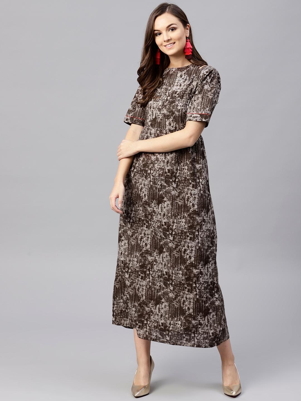 493dd999bcec Buy Jaipur Kurti Women Grey Printed Maxi Dress - Dresses for Women ...