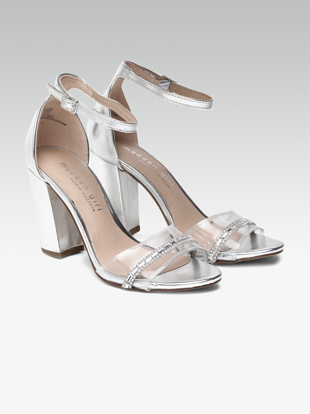 26d06583d5f Buy Steve Madden Women Silver Toned Solid Sandals - Heels for Women ...