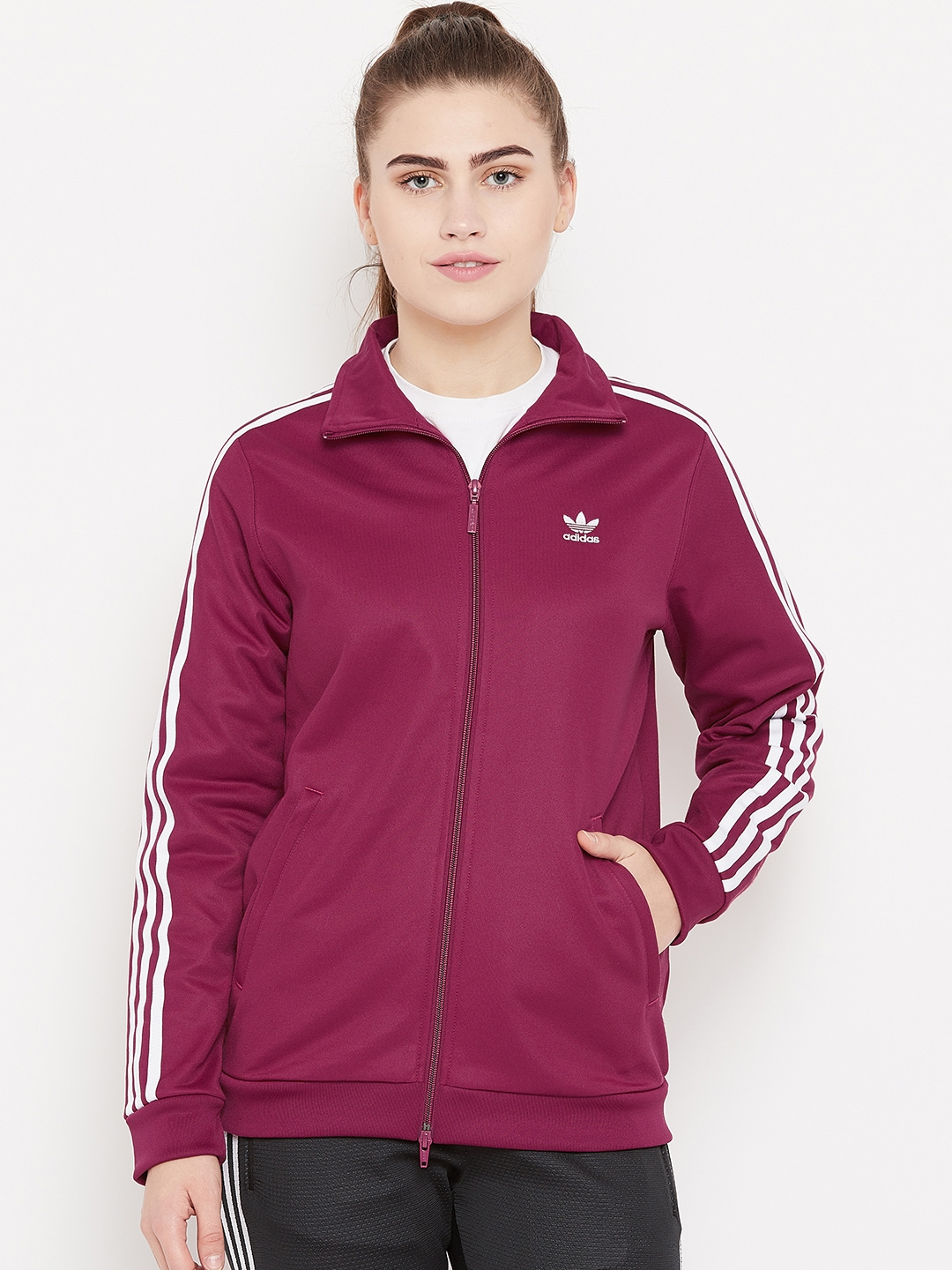 37a320eec68c Buy Adidas Originals Women Burgundy Contemp BB Track Jacket ...