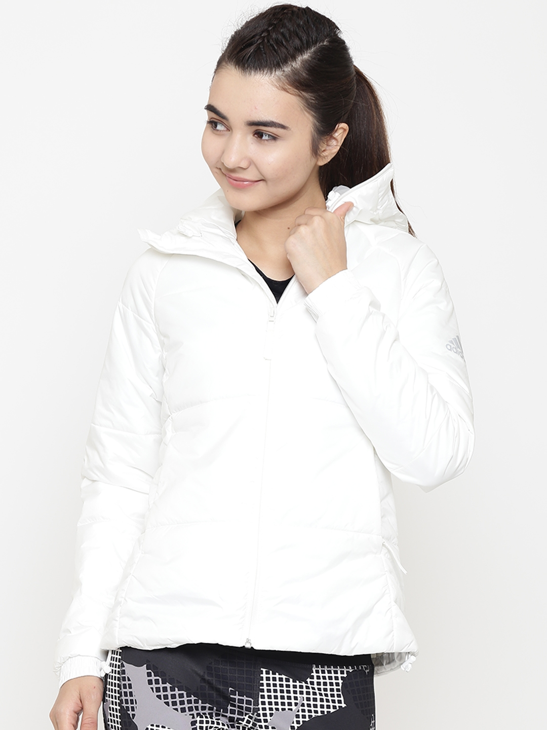 88c42534bfe Buy ADIDAS Women White BTS Winter Solid Hooded Outdoor Padded Jacket ...