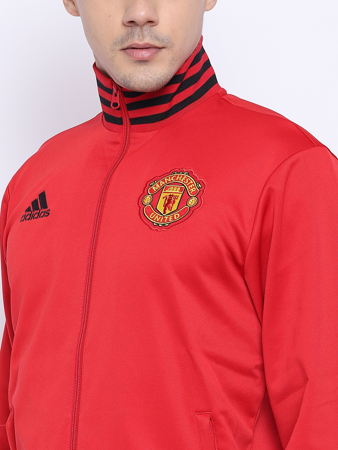 81fcdff7dc6 Buy ADIDAS Men Red Solid Manchester United 3S Track Jacket - Jackets ...
