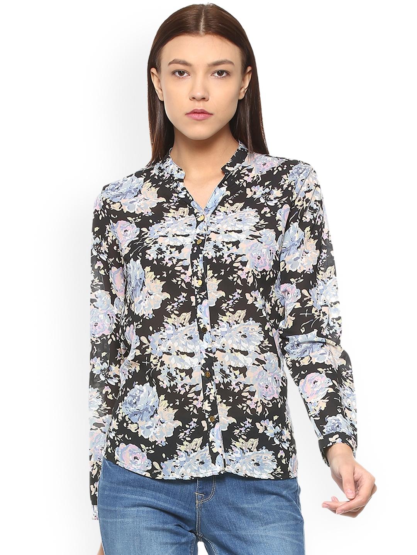 a1f882c6dd3bab Buy Van Heusen Woman Women Black & Blue Printed Casual Shirt ...