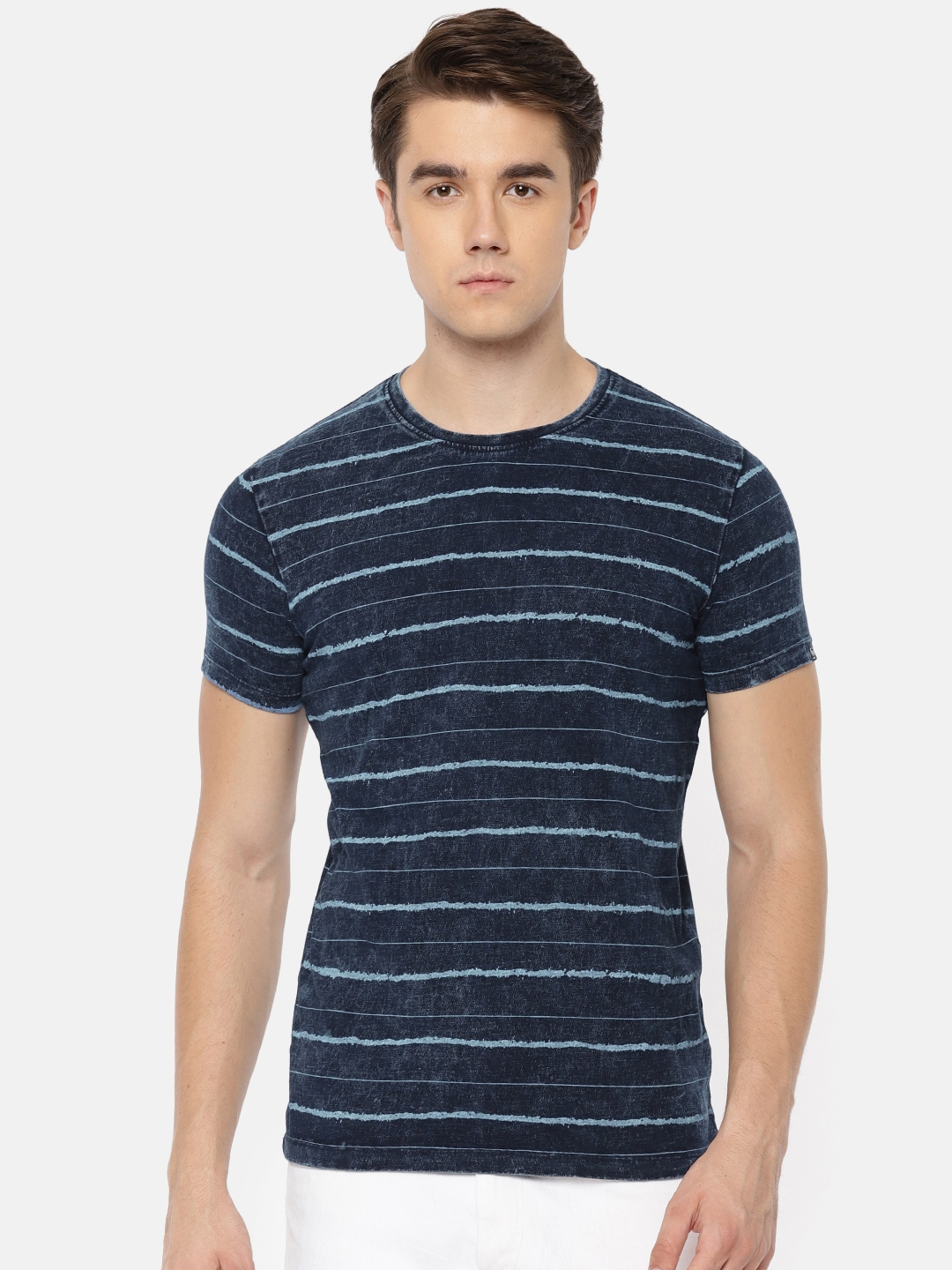 cfaca81257dc Buy Pepe Jeans Men Navy Blue Striped Slim Fit Round Neck T Shirt ...