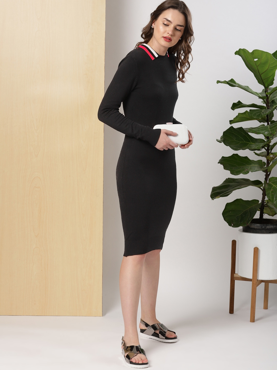 Buy Her By Invictus Women Black Solid Sweater Dress Dresses For