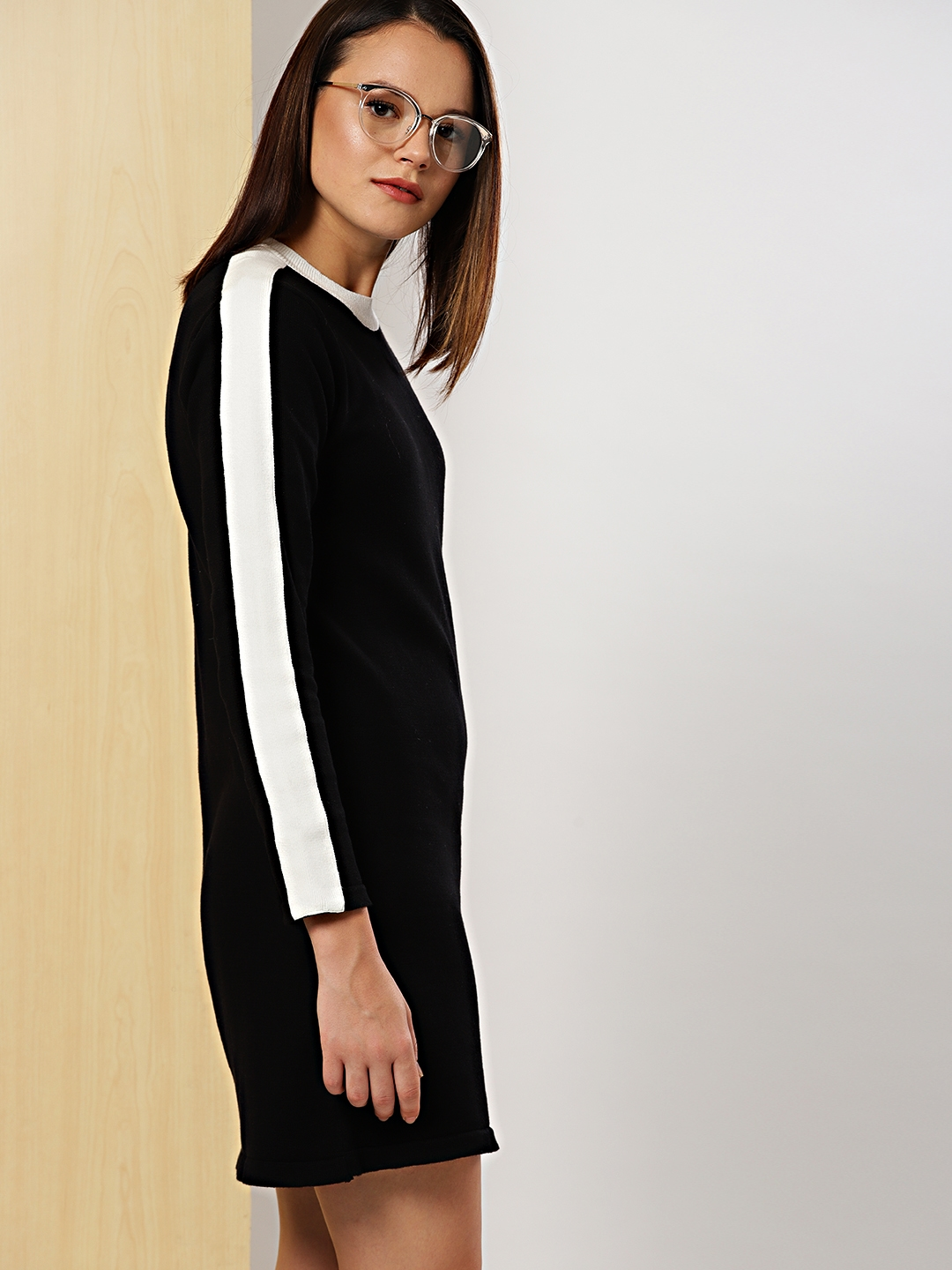 6cc1082db6 Buy Her By Invictus Women Black Solid Sweater Dress - Dresses for ...