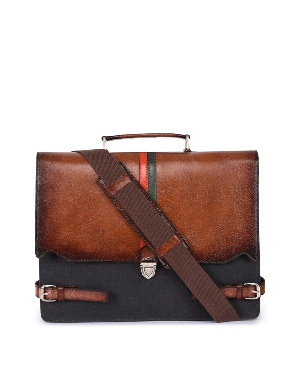 Phive Rivers Men Brown   Black Solid Laptop Bag