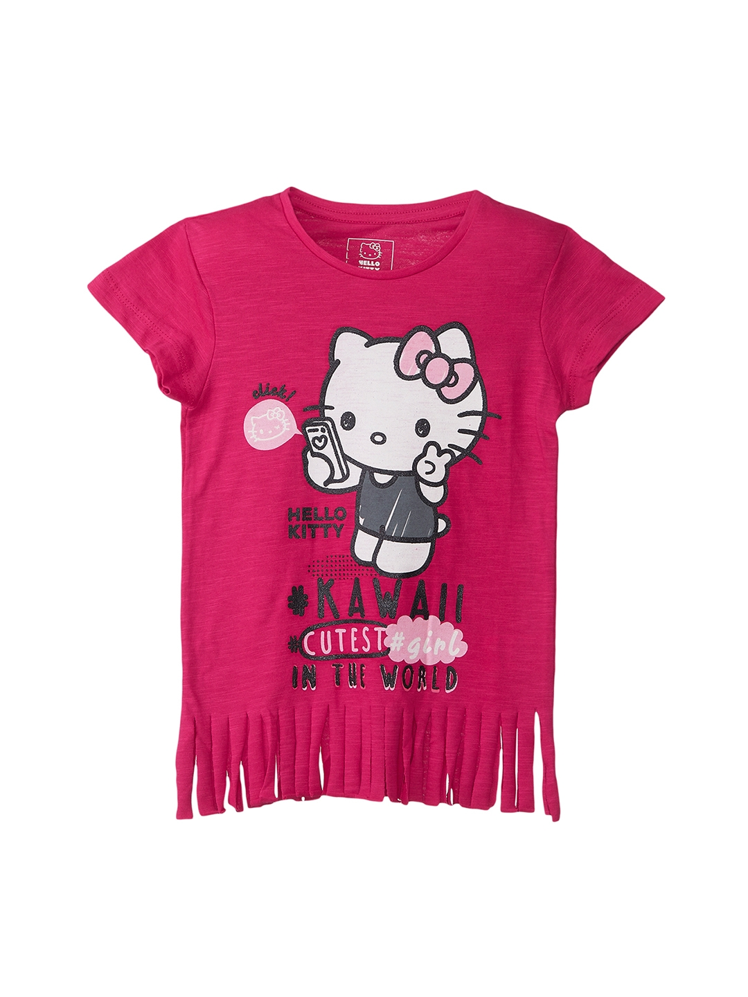 bb926517557 Buy Kids Ville Girls Pink Printed Hello Kitty T Shirt - Tshirts for ...