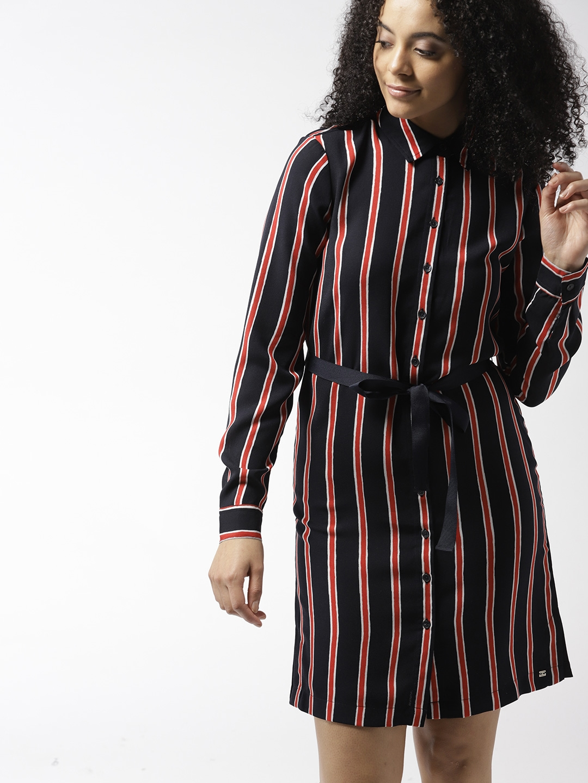 d870fe5c4f Buy Tommy Hilfiger Women Navy Blue   Red Striped Shirt Dress ...