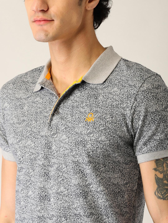 71ff8b07c Buy United Colors Of Benetton Men Grey Printed Polo Collar T Shirt ...