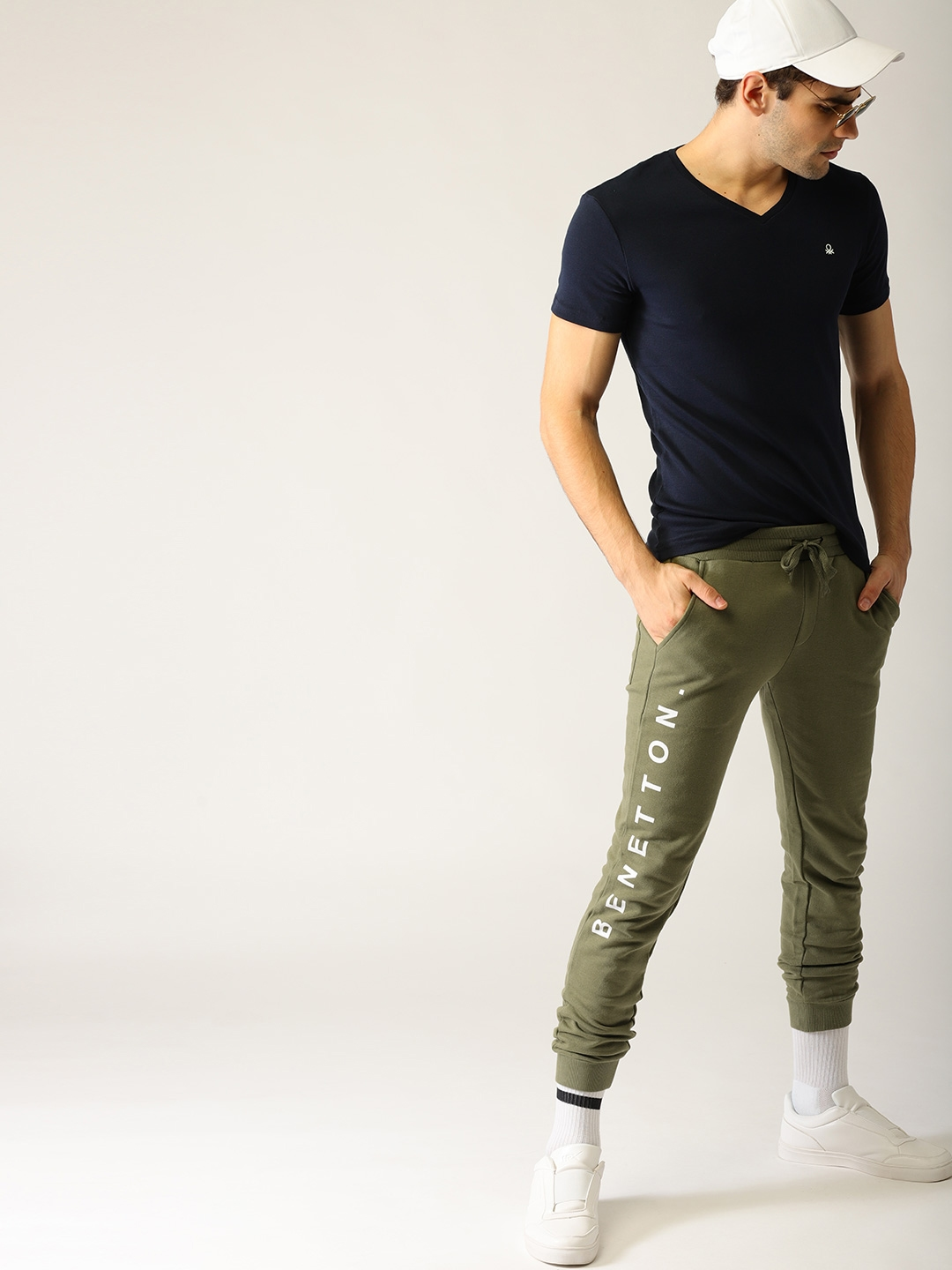 Buy United Colors Of Benetton Men Olive Green Solid Joggers Track