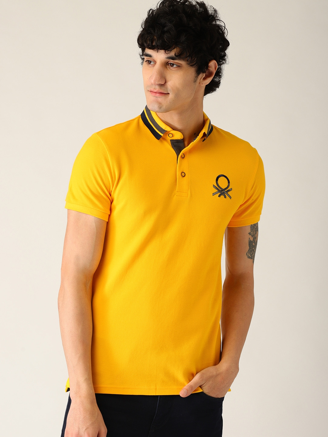 e34763fce57 Buy United Colors Of Benetton Men Yellow Solid Polo Collar T Shirt ...