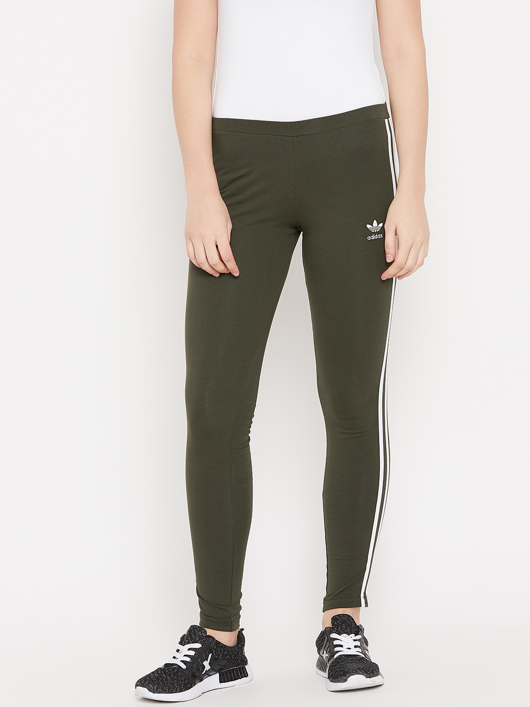 info for d258b ade7f ADIDAS Originals Women Olive Green 3 Stripes Solid Tights