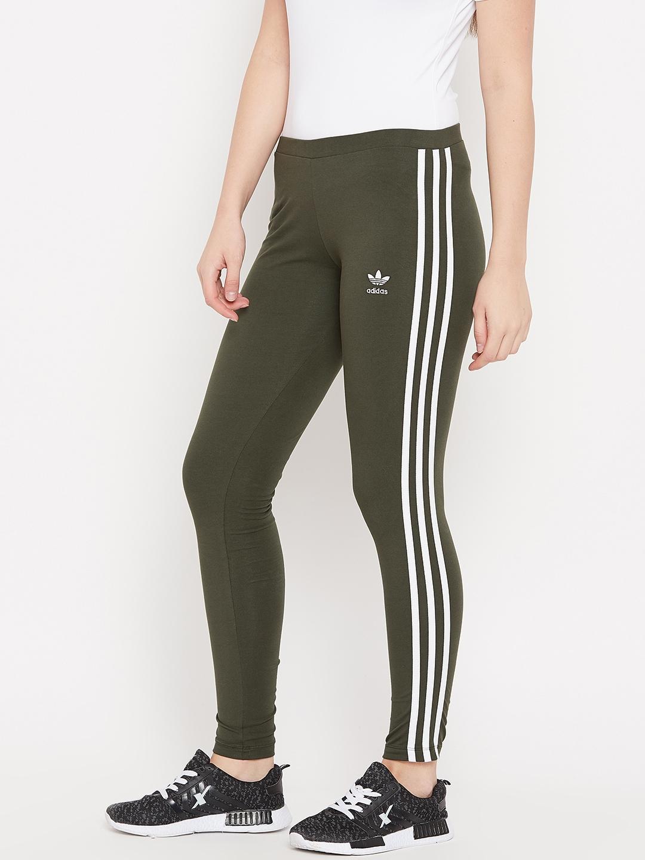 1cc0199e5e42a Buy ADIDAS Originals Women Olive Green 3 Stripes Solid Tights ...