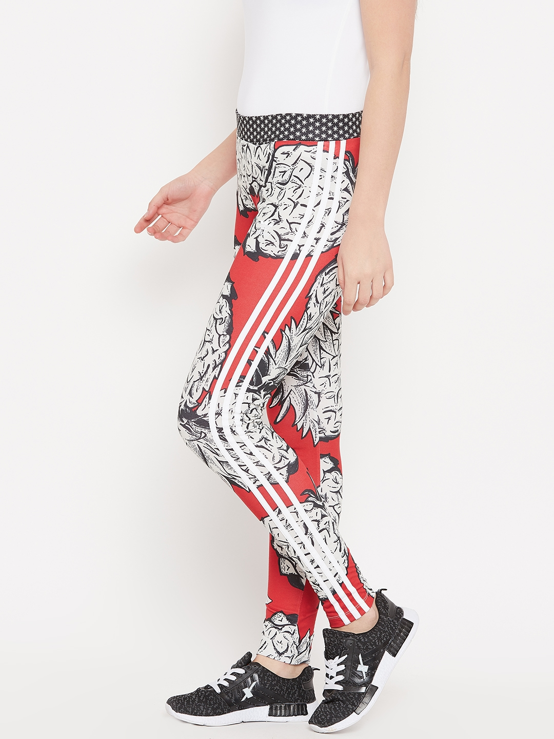 23dd9938453e8 Buy ADIDAS Originals Women Red & Off White Printed Tights - Tights ...