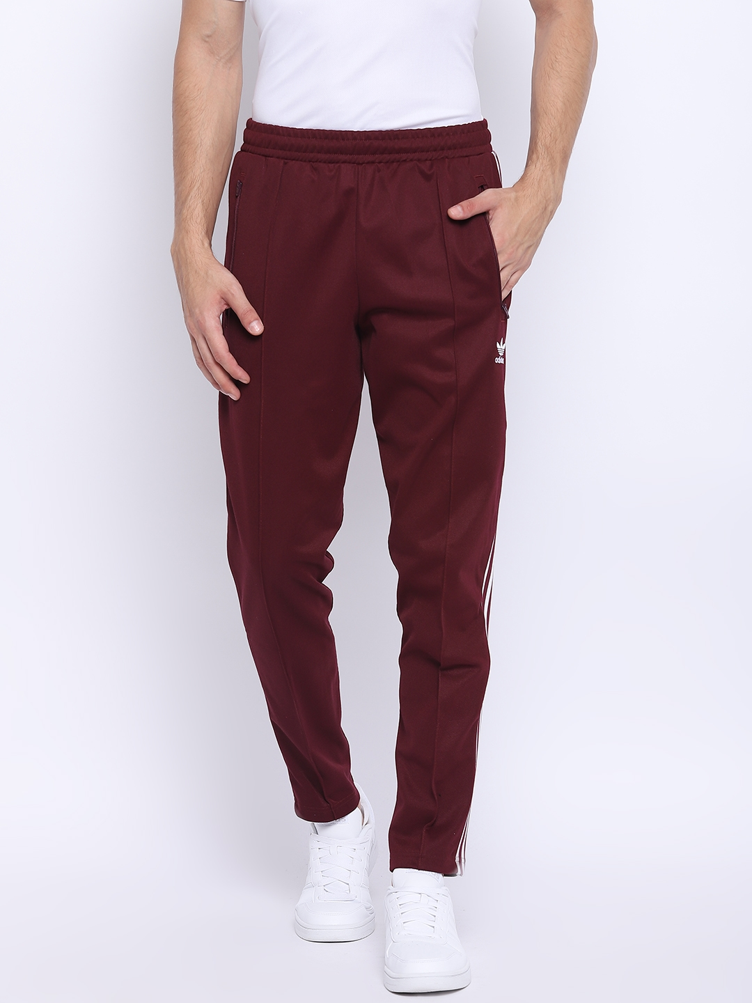 Buy ADIDAS Originals Men Maroon Beckenbauer Solid Track Pants ... 3785cc6b79