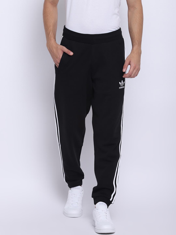 e282f0f3 ADIDAS Originals Men Black 3-Stripes Solid Joggers