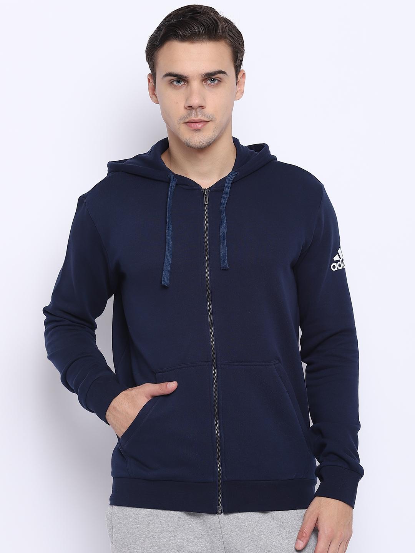 7b8daa4d6d76 Adidas Men Navy Blue Training Essentials Base FZ SLB Hoodie Sweatshirt