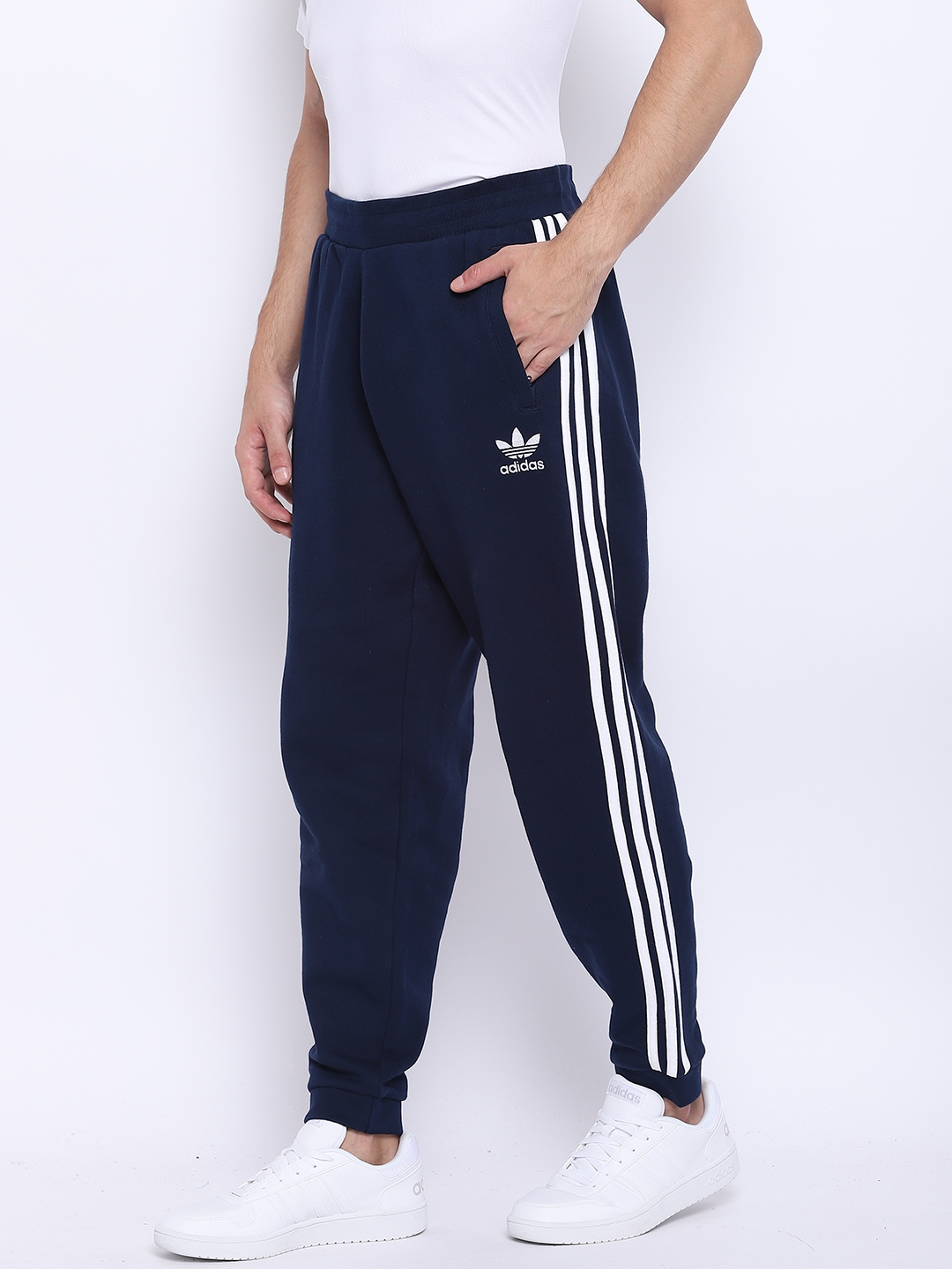 6d2b5f699c034 Buy ADIDAS Originals Men Navy Blue 3 Striped Solid Joggers - Track ...