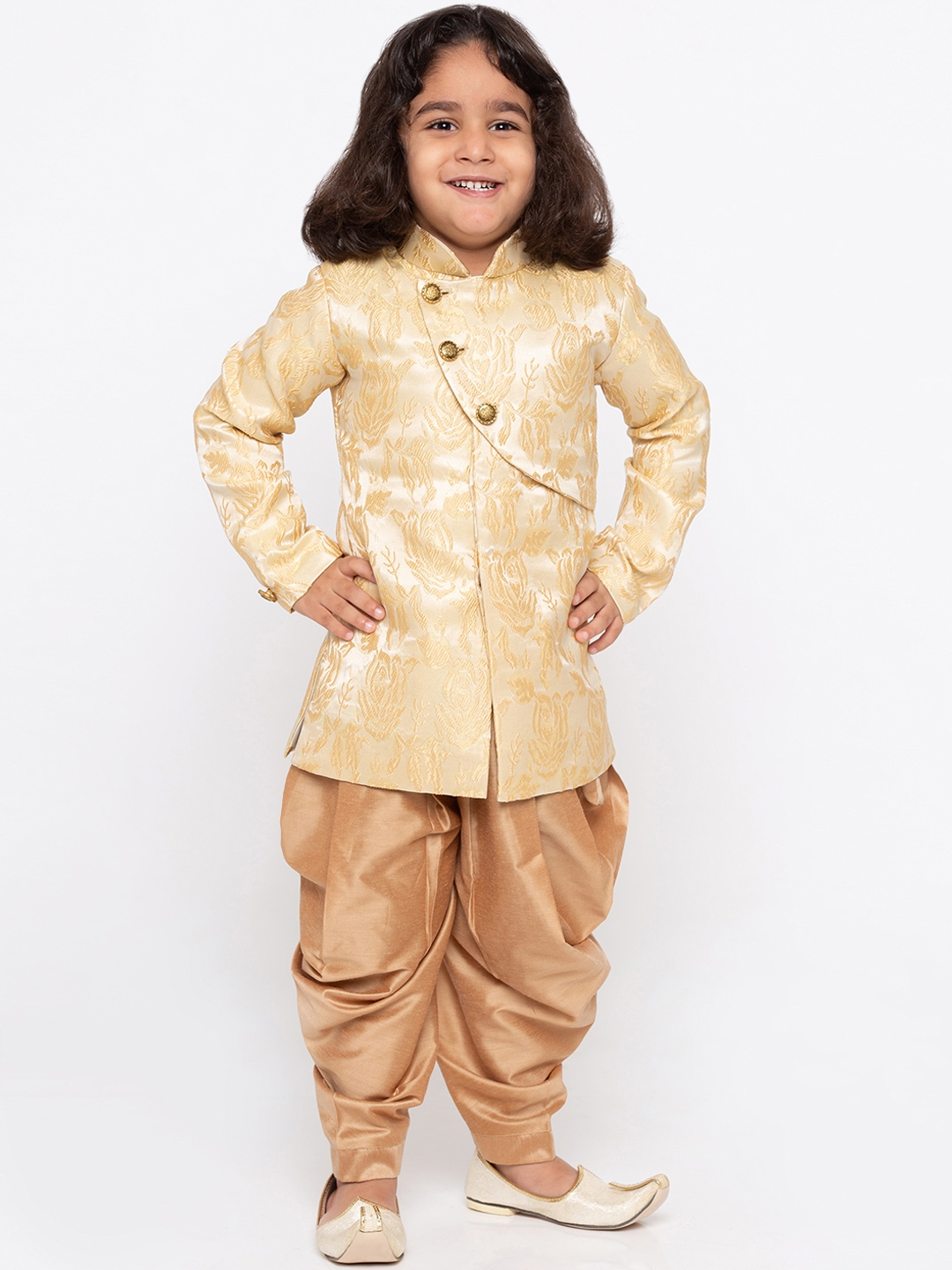 d65698660 Buy JBN Creation Boys Beige & Gold Toned Self Design Sherwani ...