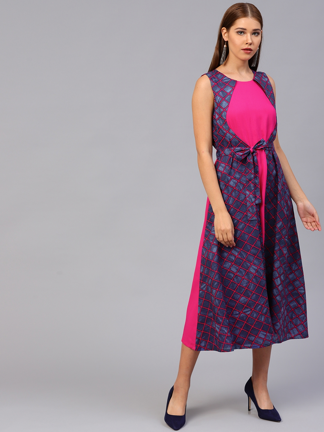 f6f74ba0333f Buy Athena Women Pink   Navy Blue Checked A Line Dress - Dresses for ...