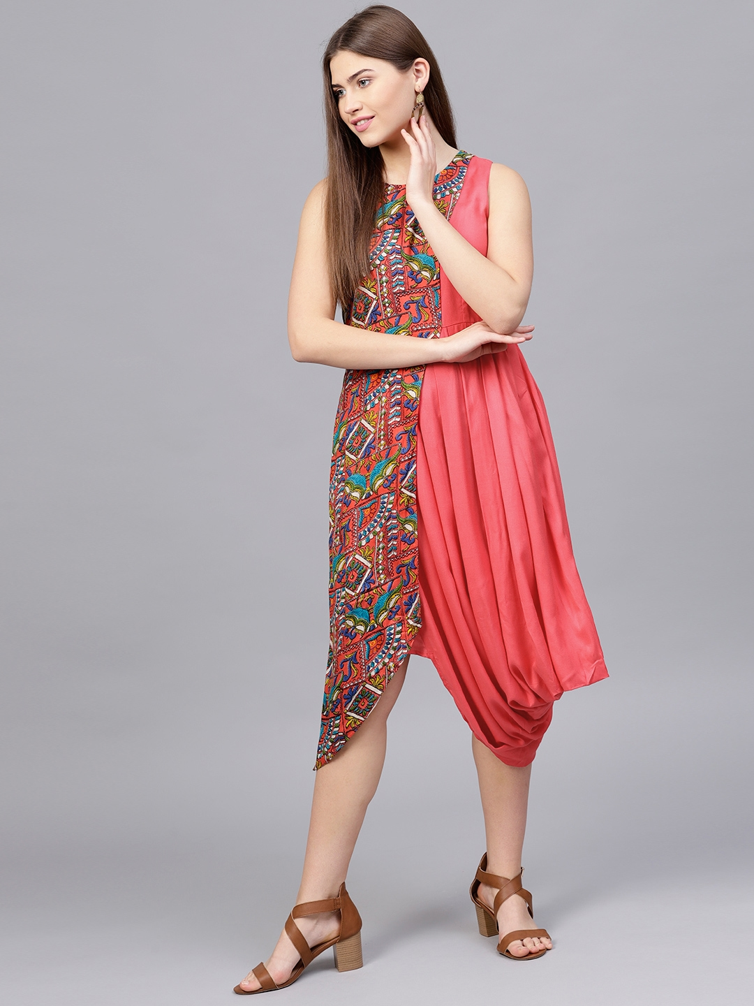 12ce4acaff72 Buy Athena Women Coral Pink   Blue Printed A Line Dress - Dresses ...