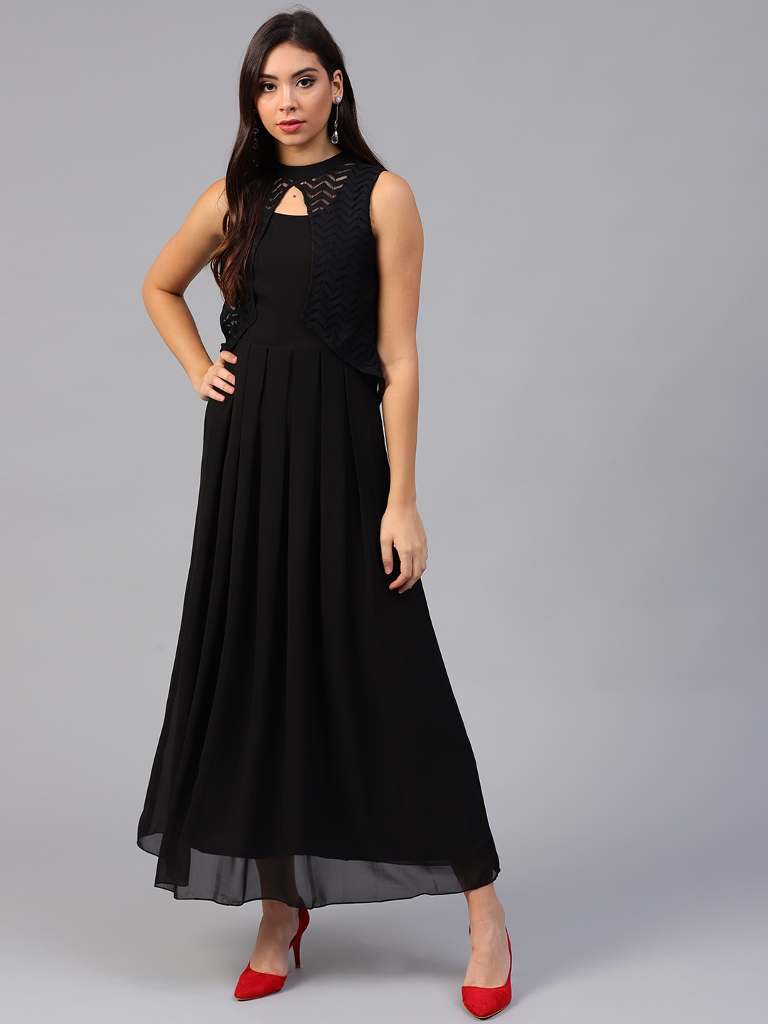 2afa319467 Buy Athena Women Black Solid Layered Maxi Dress - Dresses for Women ...