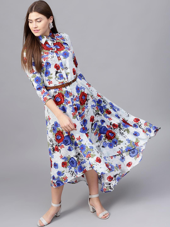 906ee5e43be Buy Athena Women Blue Printed Maxi Dress - Dresses for Women 7409171 ...