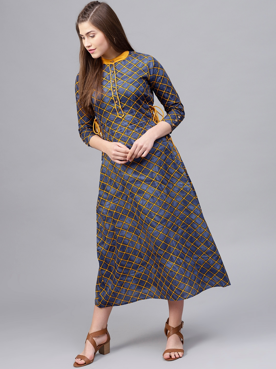 4daf5ce81b61 Buy Athena Women Navy Blue   Mustard Yellow Checked Maxi Dress ...