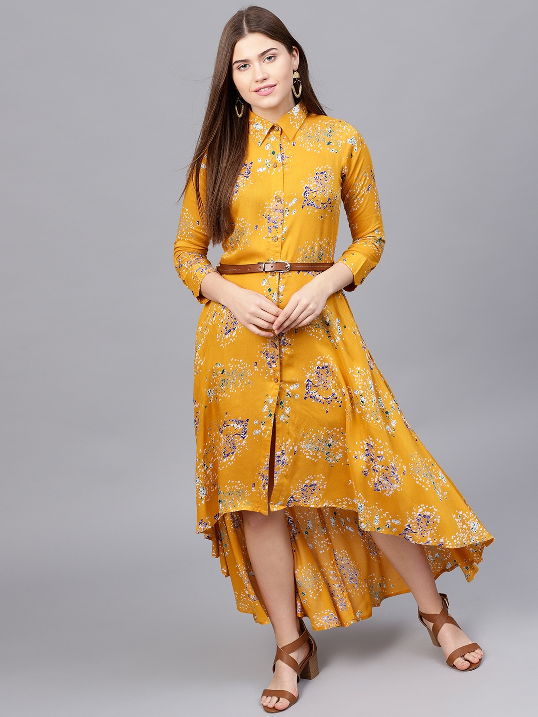 057cf21a7b Buy Athena Women Mustard Yellow Printed Maxi Dress - Dresses for ...