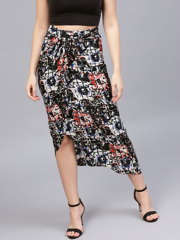 096ecb2958 Buy Athena Women Black   White Printed A Line Midi Wrap Skirt ...