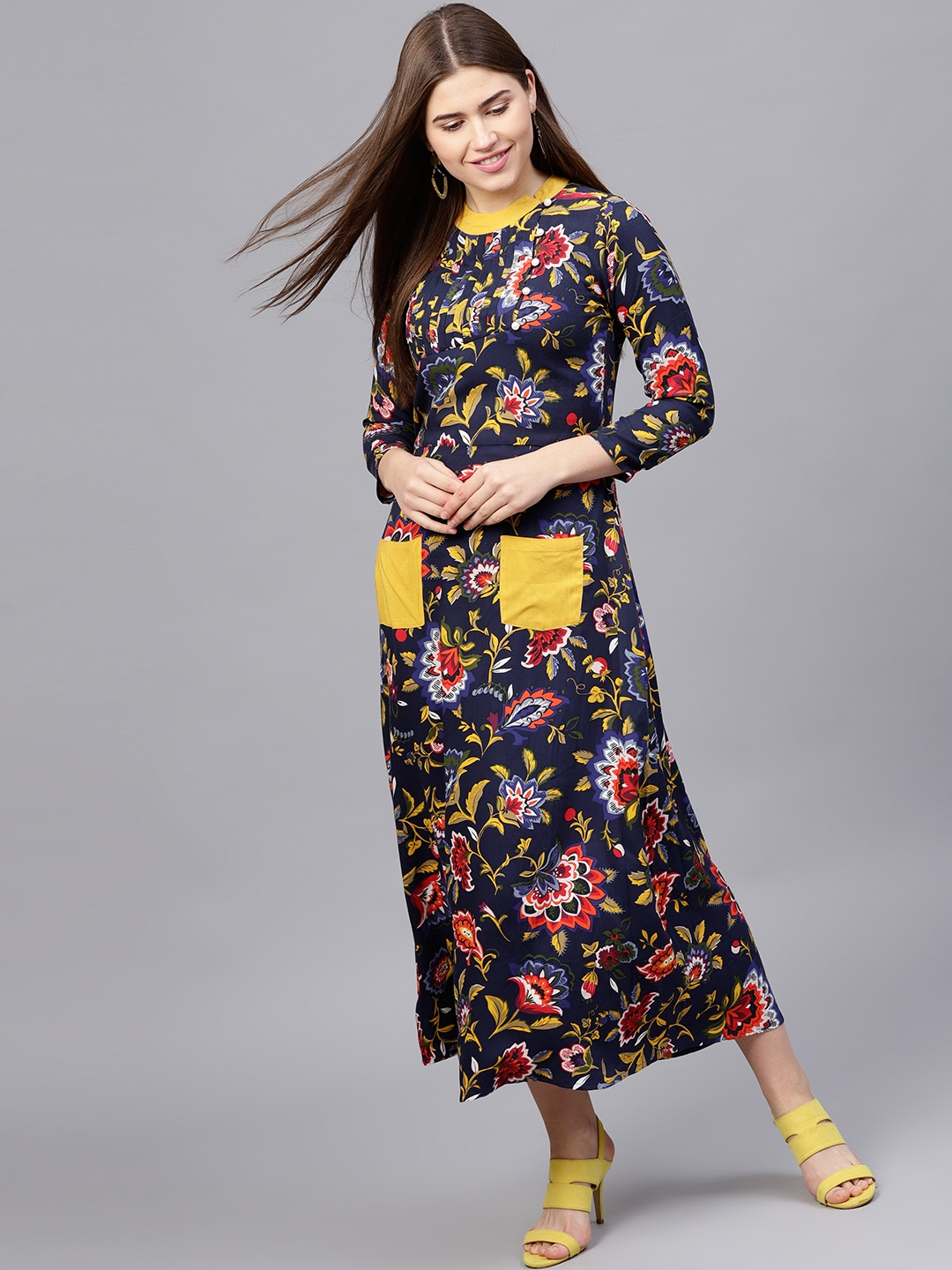 fd6ad5f546fe Buy Athena Women Navy Blue   Mustard Yellow Printed Maxi Dress ...