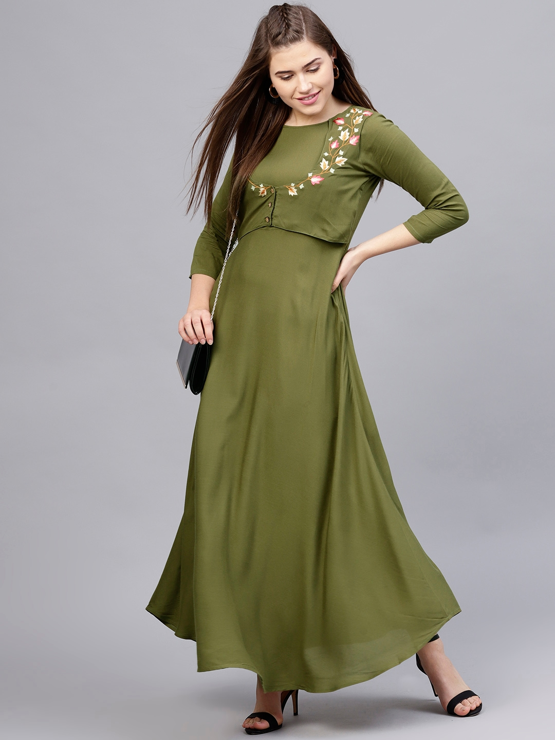 Buy Athena Women Olive Green Solid Layered Maxi Dress Dresses For