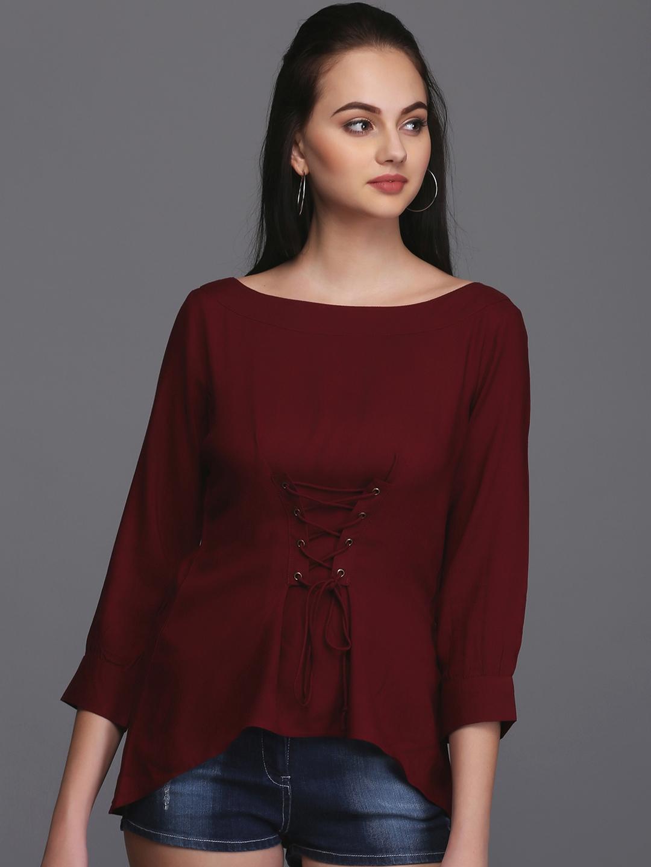 Eavan Women Maroon Solid Cinched Waist Top