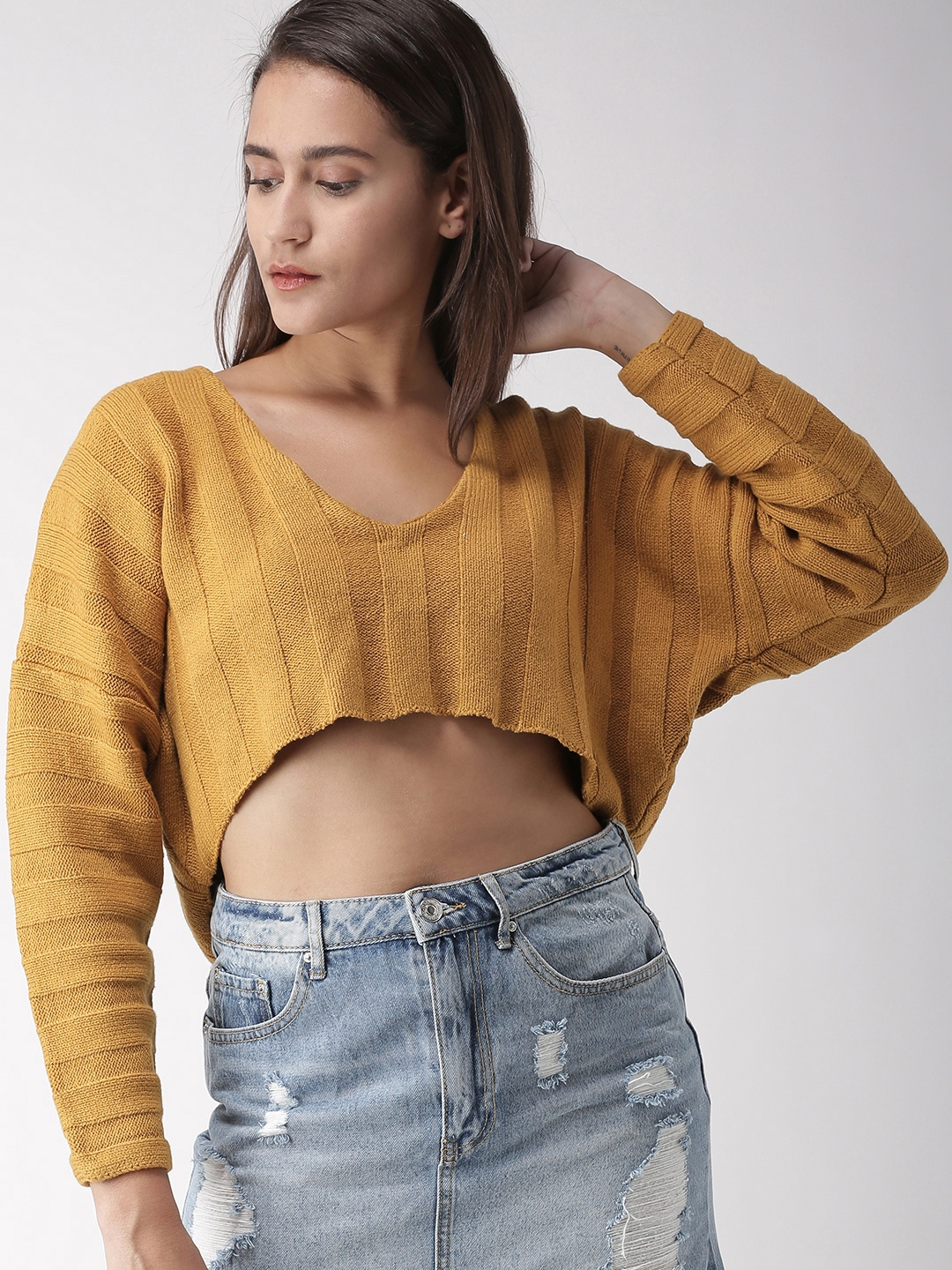 c1e030b0fed985 Buy FOREVER 21 Women Mustard Yellow Solid Crop Pullover Sweater ...