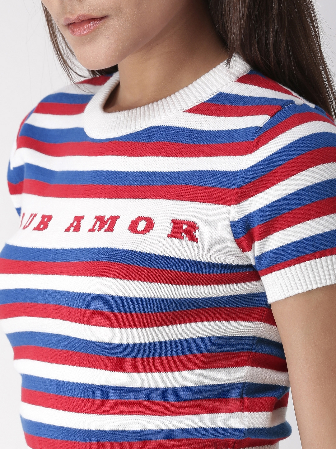 f0112727344d05 Buy FOREVER 21 Women White & Red Striped Cropped Pullover - Sweaters ...