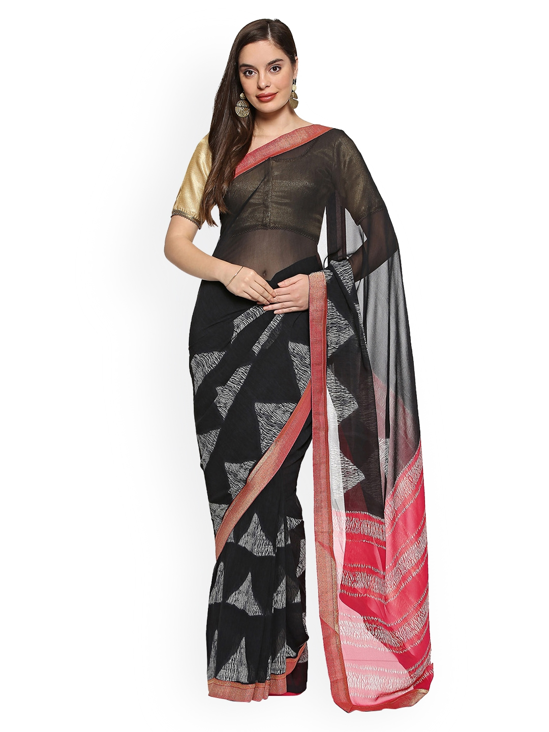 7abb1eed59 Buy Soch Black Printed Poly Georgette Saree - Sarees for Women ...