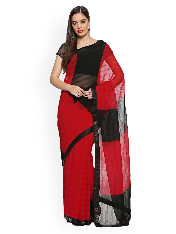 4921ae84f00537 Buy Soch Red   Black Poly Chiffon Colourblocked Saree - Sarees for ...
