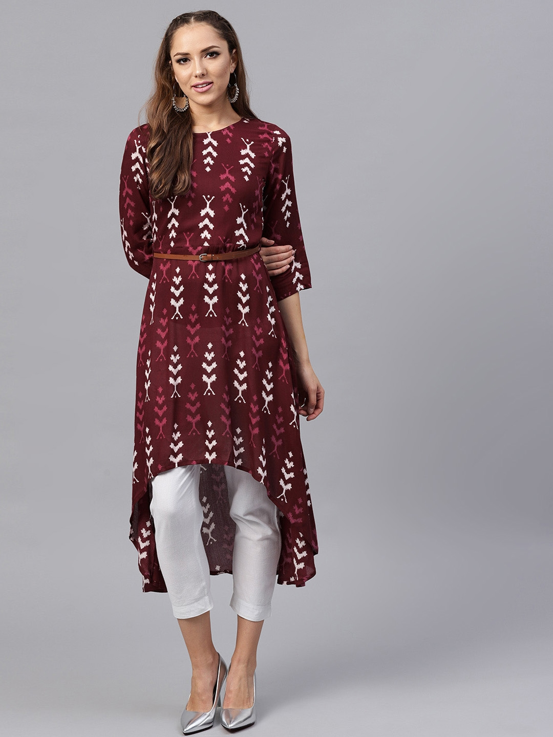 ffe43d0156 Buy SASSAFRAS Women Maroon & Off White Ikat Print High Low A Line ...