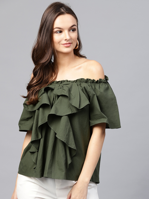 e7c8dbff07fba3 Buy SASSAFRAS Women Olive Green Solid Ruffled Bardot Top - Tops for ...