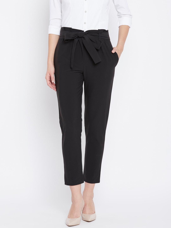 Buy Zastraa Women Black Regular Fit Solid Peg Trousers Trousers For Women 7414863 Myntra Look for designs featuring feminine details like. zastraa women black regular fit solid peg trousers