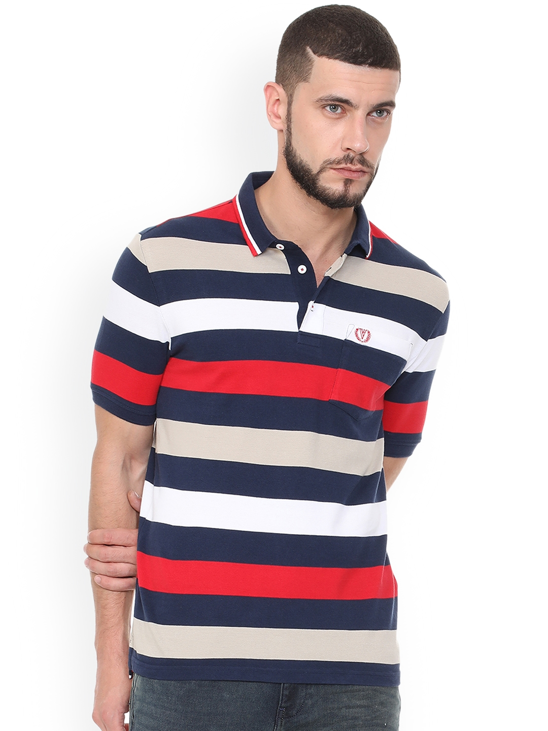 a3035068e Buy Van Heusen Sport Men Multicoloured Striped Polo Collar T Shirt ...