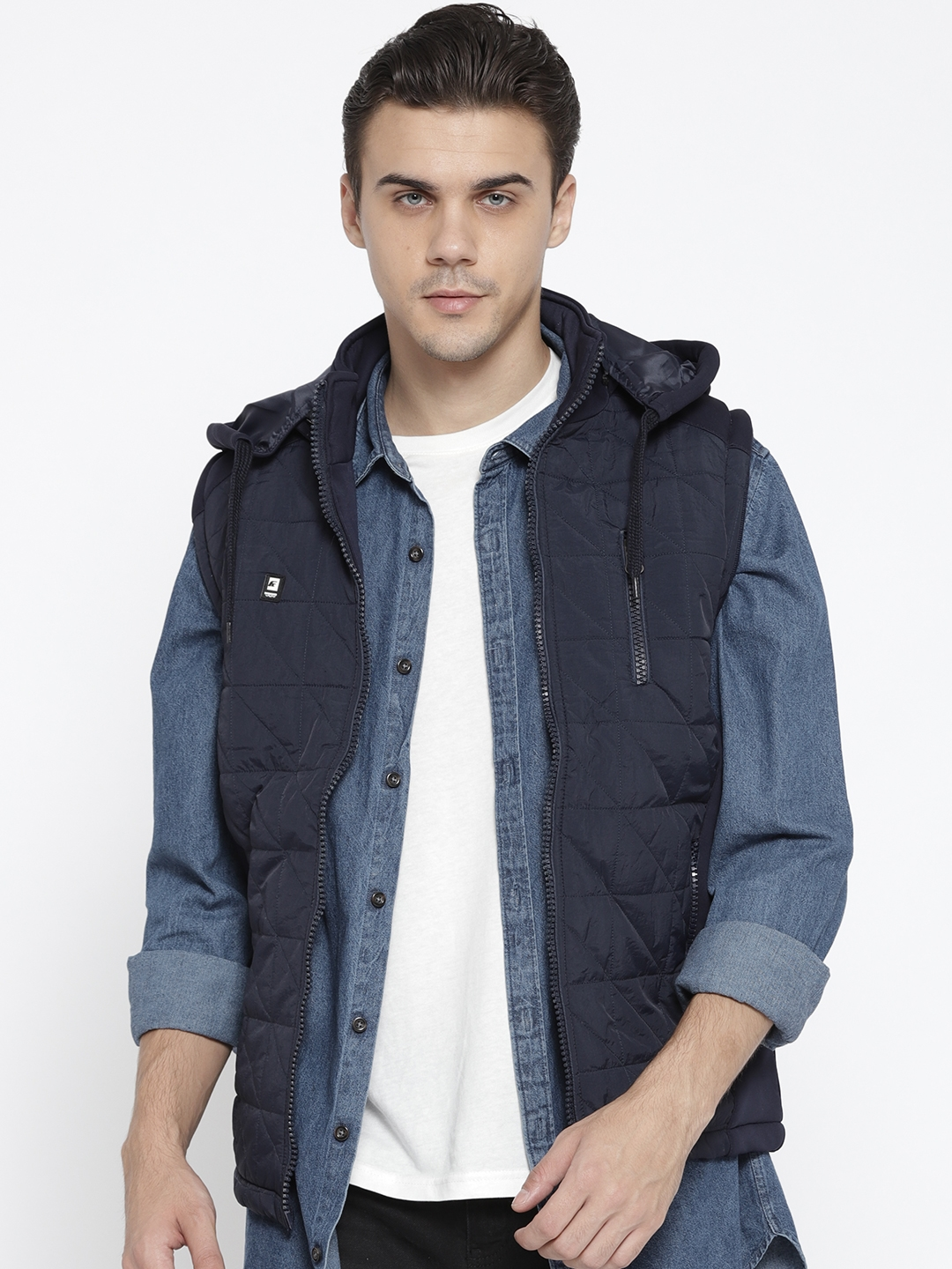Fort Collins Men Navy Blue Solid Hooded Sleeveless Quilted Jacket