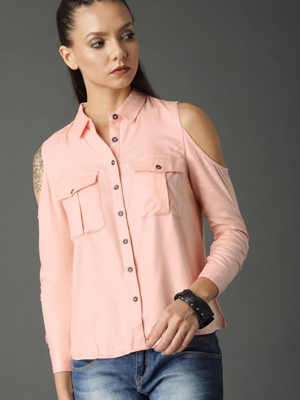 d9e9c16e0d8d7e Buy Roadster Women Peach Coloured Solid Cold Shoulder Shirt Style ...